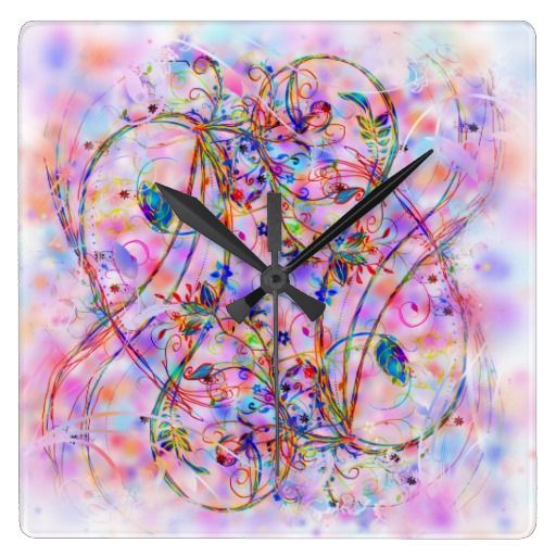 Pastel Swirl Floral Square Wall Clock