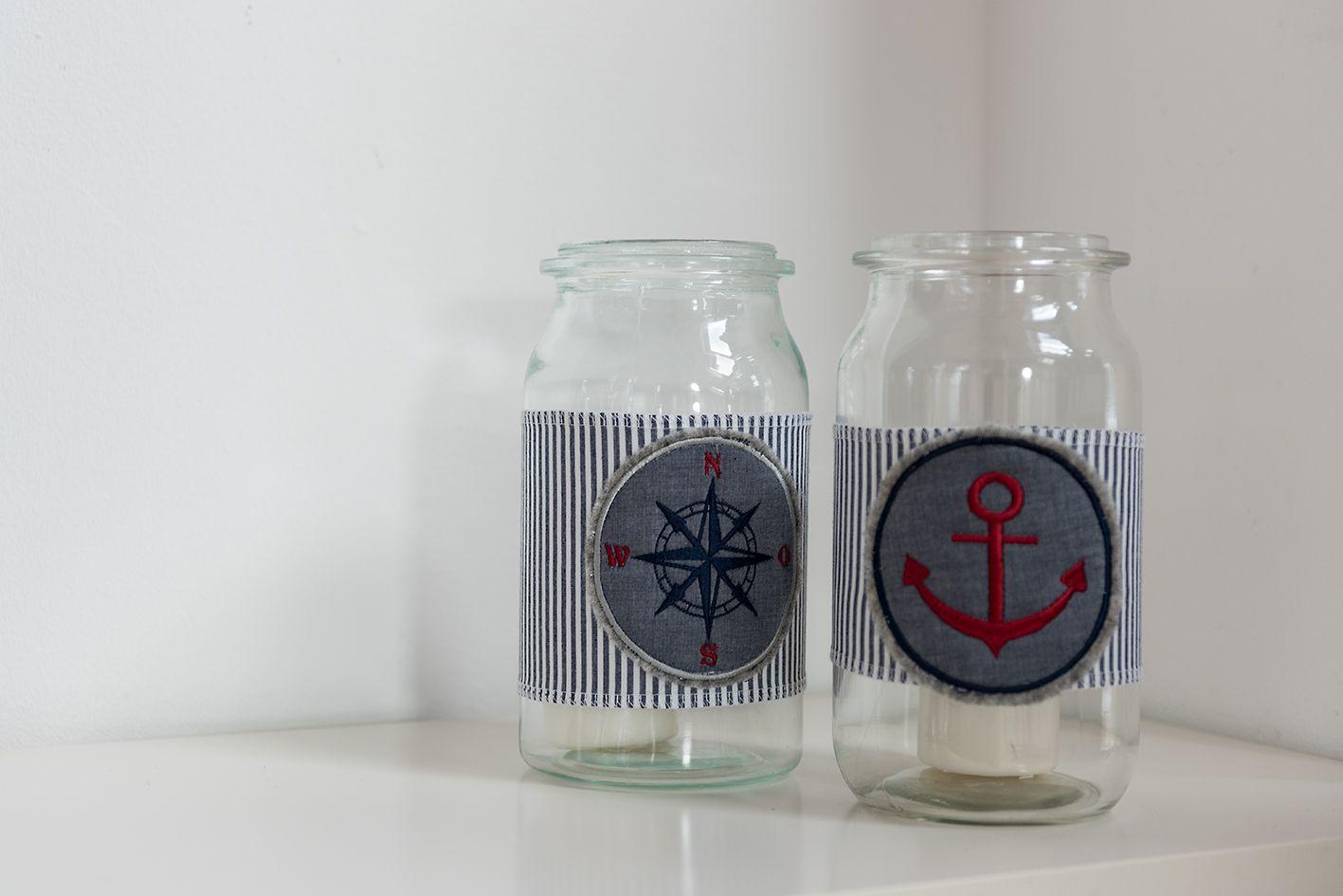 #Weckglas, #nähen, #sticken, #Anker ,#Windlicht,# DIY #weckgläserdekorieren