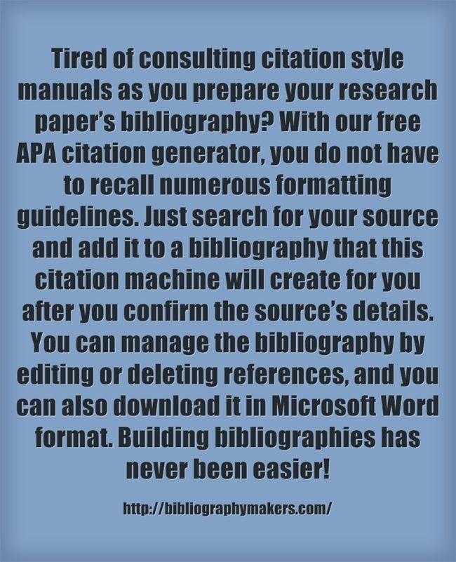 Writing A Bibliography Free Citation Generator Apa Citation Generator Bibliography Generator Free Apa Citation Generator Bibliography Makers Writing A