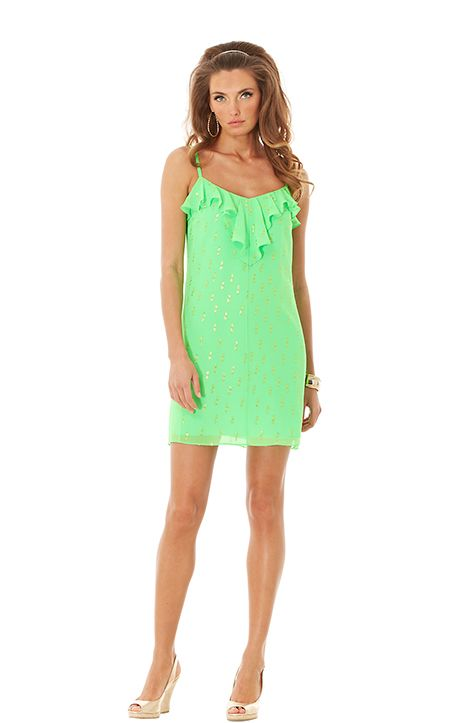 Gianna Dress in Go Go Green Double Dot Chiffon