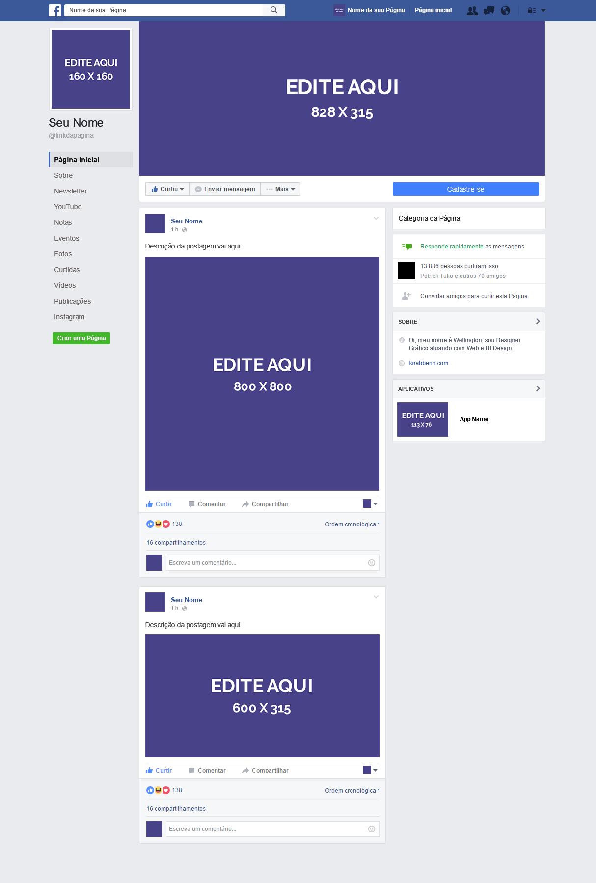 Novo Layout de Página do Facebook