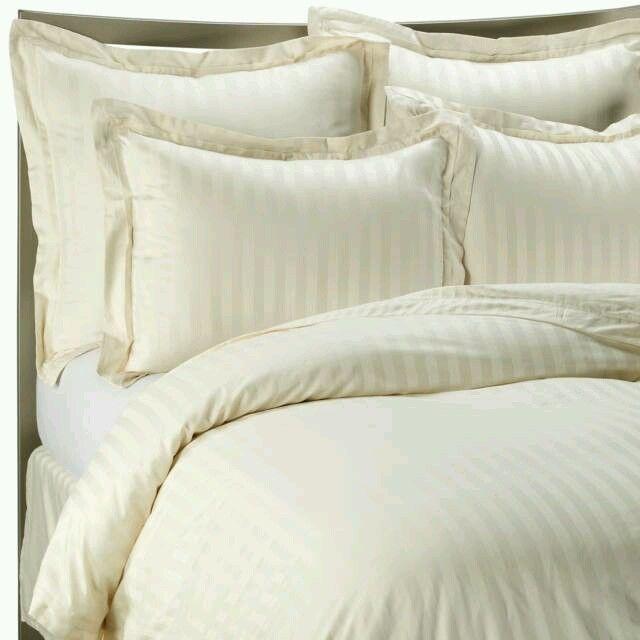 Wamsutta Duvet Cover Damask Ivory Stripe Cotton Sa King Euc