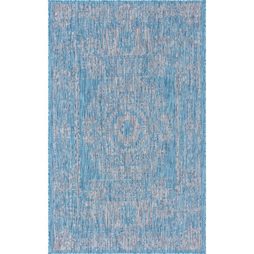 Unique Loom Aqua Blue Timeworn Outdoor 5 Ft X 8 Ft Area Rug Area Rugs Rugs Outdoor Rugs