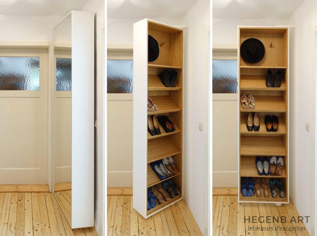Astucieux rangement pour les chaussures ! Idée de meuble d\'entrée ...