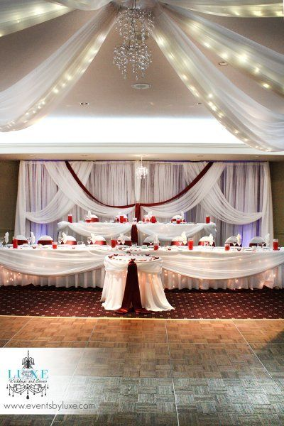 Burgundy And White Wedding Decor With Backdrop 2 Tier Head Table Cake By Luxe Weddings Events At Best Western Stoneridge Inn In London
