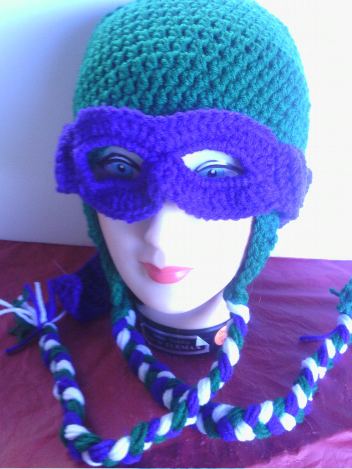 332c1380b Purple masked Teenage Mutant Ninja Turtle crocheted earflap hat ...