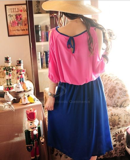 Cheap Wholesale Charming Scoop Neck Off Shoulder Design Color Matching High Waist Column Women's Dress (BLUE,ONE SIZE) At Price 10.01 - DressLily.com
