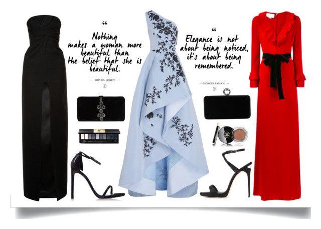 """GOWNS OPTIONS"" by thekeystylist on Polyvore featuring moda, Monique Lhuillier, Giuseppe Zanotti, Swarovski, Gucci, Yves Saint Laurent, Stuart Weitzman y Dsquared2"