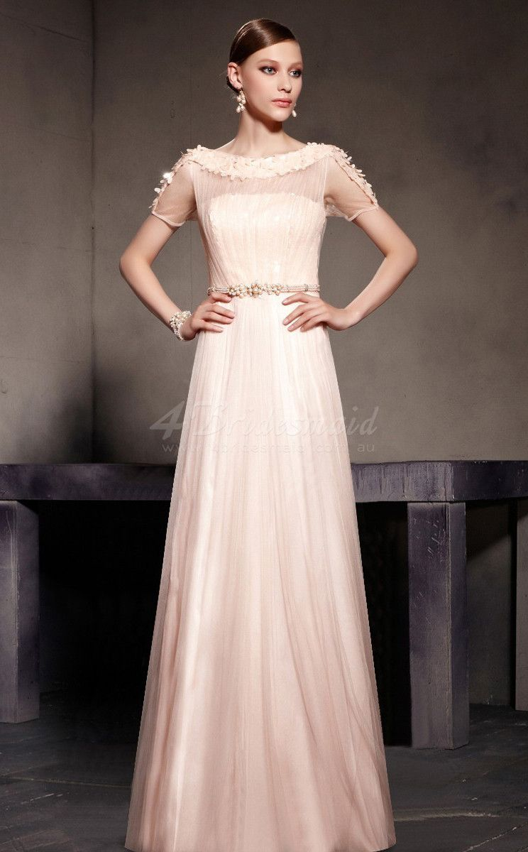 Pearl pink long tulle bridesmaid dress with short sleeves jt