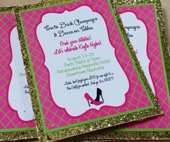 Sparkle Mania - Neon Bachelorette Invites www.fabuniquedesigns.net