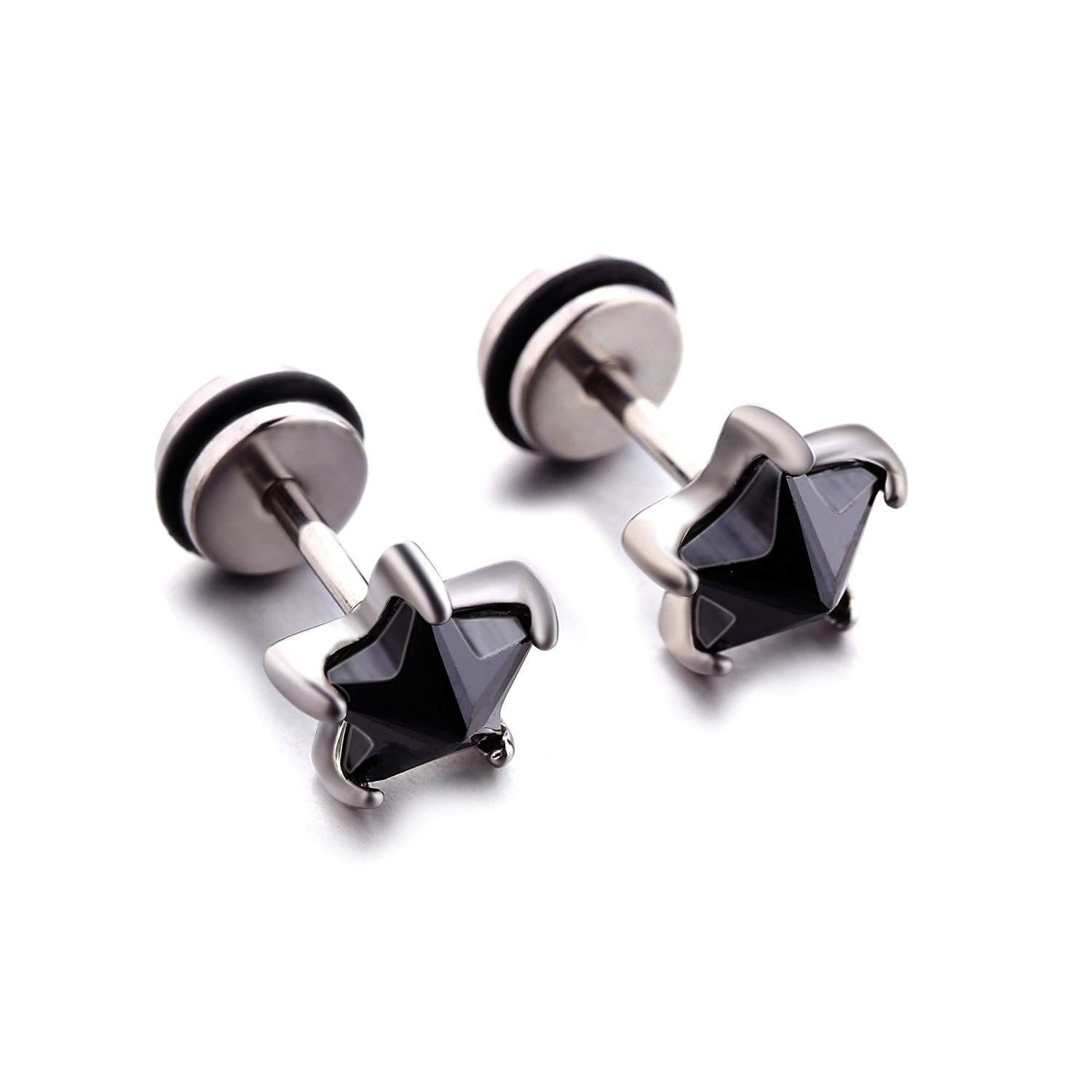 e9500cc5d 1-2 Pairs 16G Stainless Steel Mens Womens Cubic Zirconia Star Screw Back Stud  Earrings Ears Piercing ** Many thanks for visiting our image.