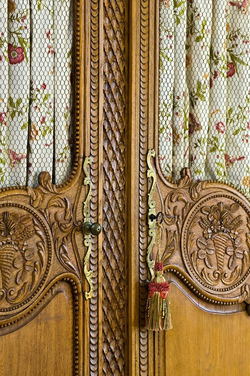 Armoire With Fabric Insets