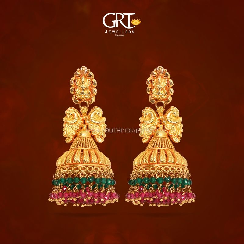 Gold Lakshmi Jhumka From Grt Gold Jewellery Design Necklaces Gold Jhumka Earrings Gold Jewelry Earrings