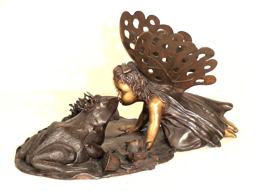 Large Garden Fairy Statues | Large Outdoor Cast Bronze Fairy And Frog Statue