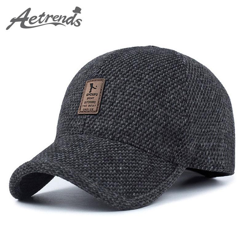 5e688c6664d0ec AETRENDS Woolen Knitted Design Winter Baseball Cap Men Thicken Warm Hats  with Earflaps Z-5000