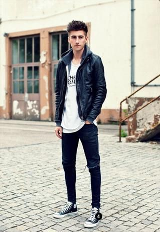cd2cfa1e212 Black Moto Leather Biker Jacket - Christoph