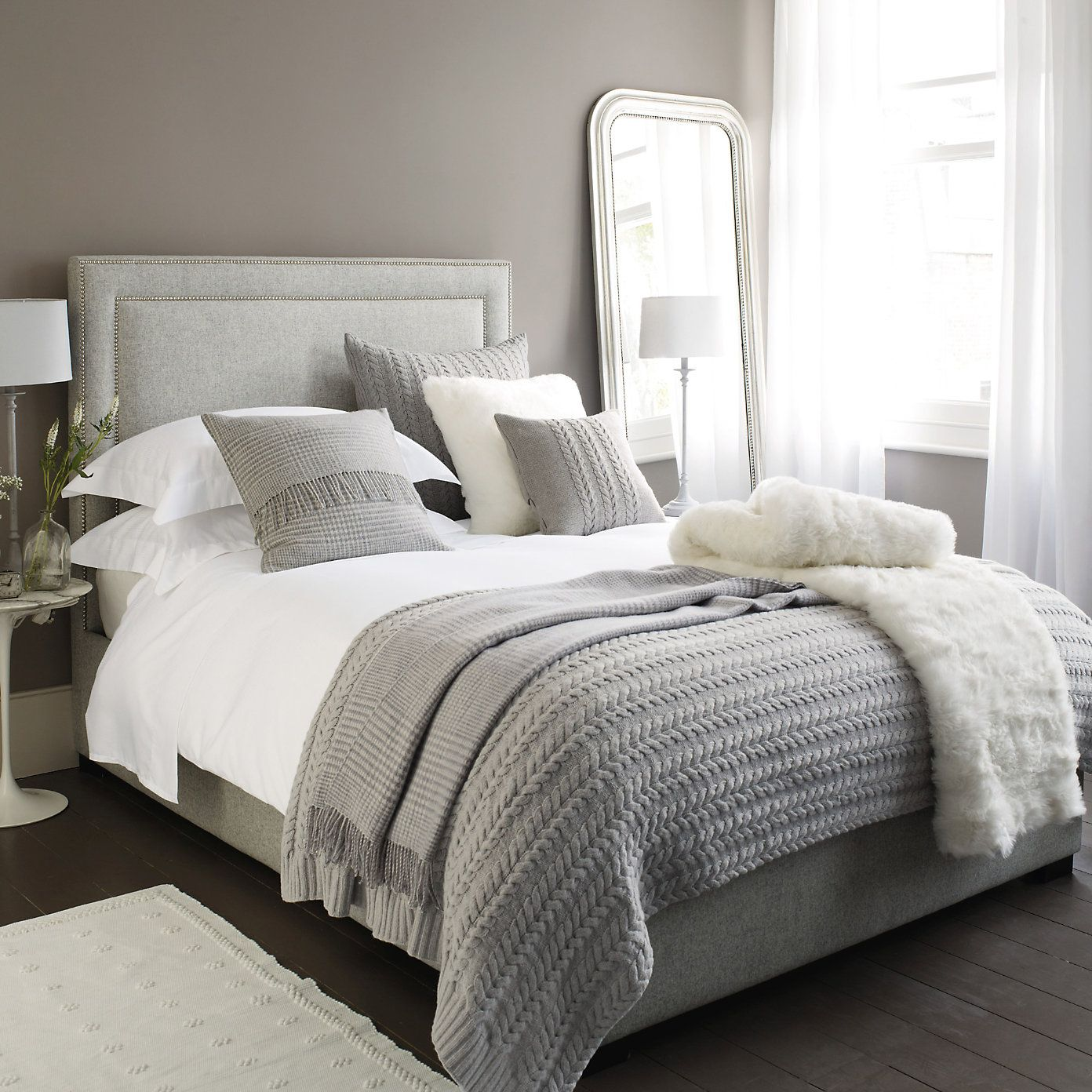 Gray Bedroom Decorating Ideas: The White Company, White Fur, Grey Bedding