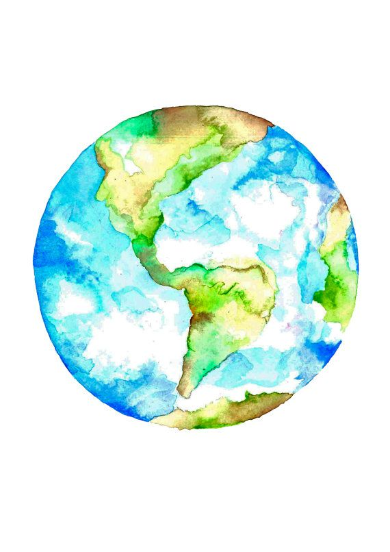 Planet Earth Watercolour Drawing Art Print Earth Art Drawing