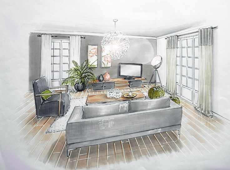 Id es d coration cuisine salon tele c en 2019 dessin - Cuisine architecte d interieur ...