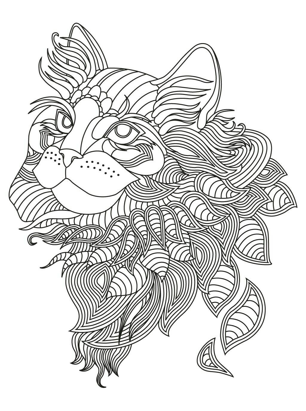 Cat tangle coloring page | Coloring ideas | Pinterest | Molde y Animales