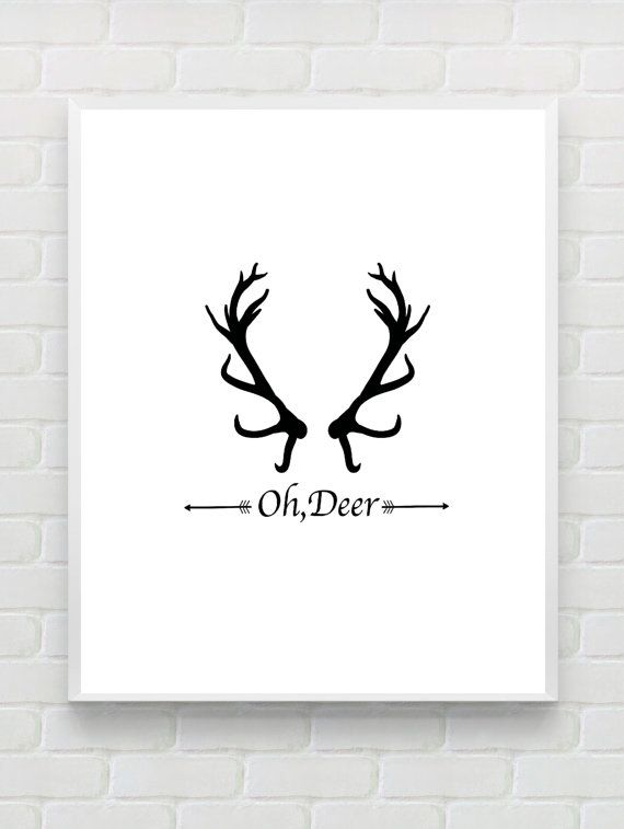 Oh deer christmas wall decor printable typographic art print scandinavian postercabin decor inspirational print christmas hostess gift
