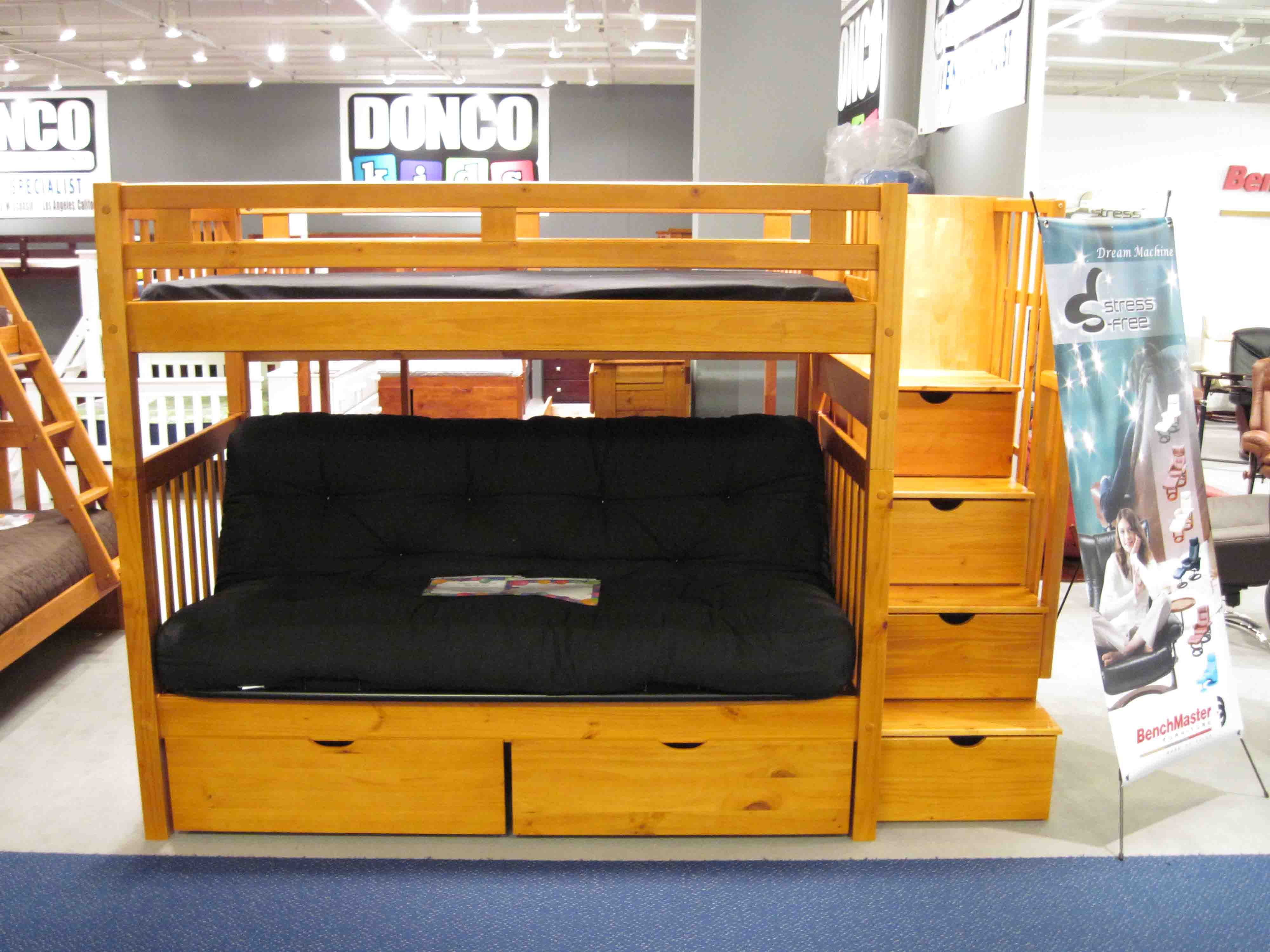 Loft Bed With Futon And Desk Bunk Beds Twin Over Stairway Honey