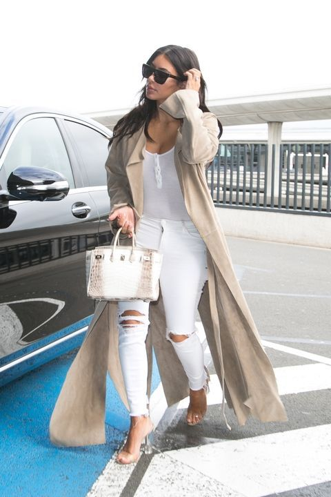 TheList: Your Guide to White Denim | Kardashian outfit, Kim