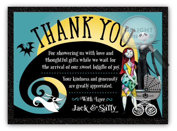 Nightmare Before Christmas Baby Shower Thank You Cards