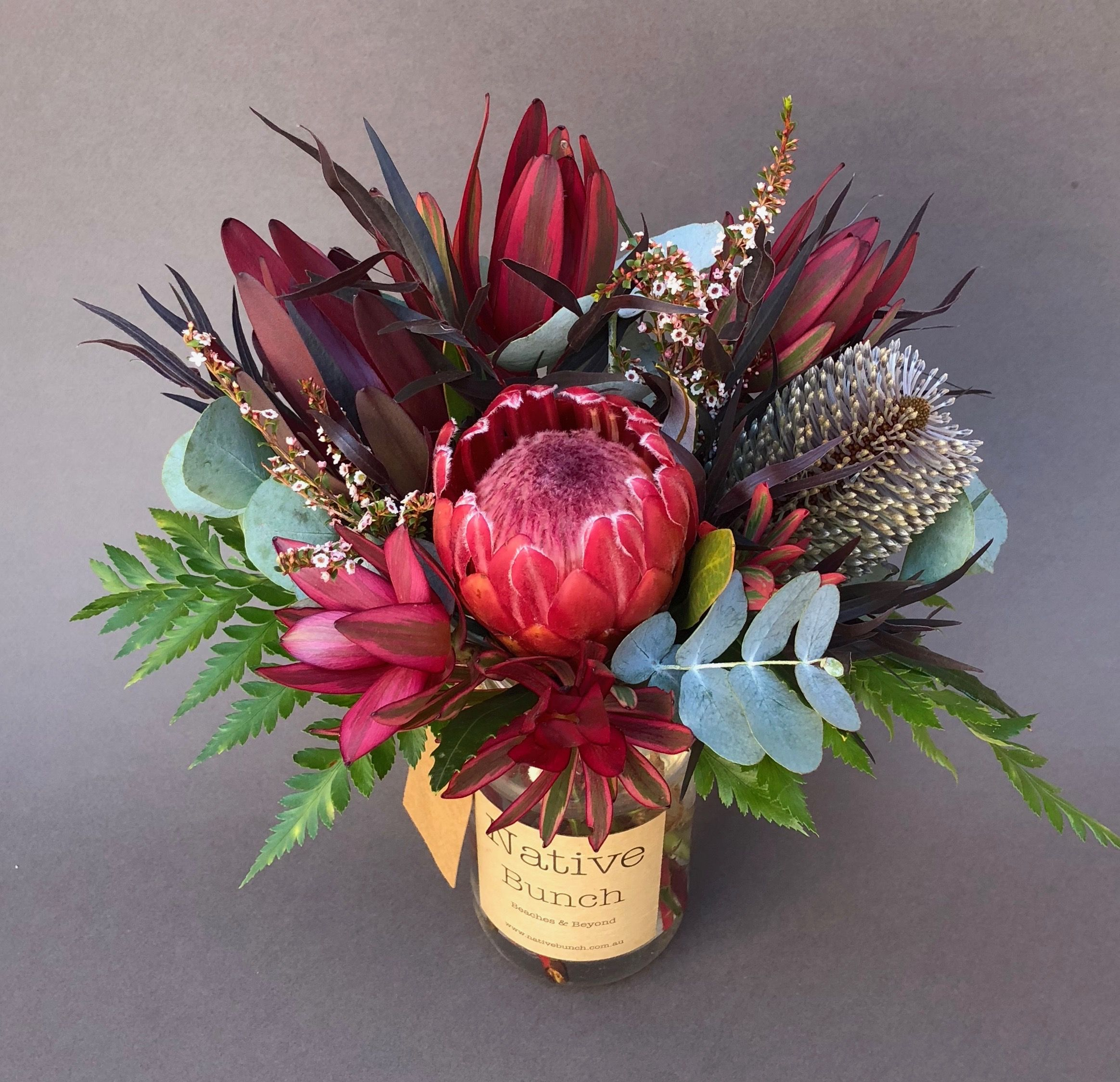Native Flower Posy Of Protea Banksia Thryptomene Leucadendron After Dark Foliage Flower Arrangements Table Flower Arrangements Wedding Table Flowers