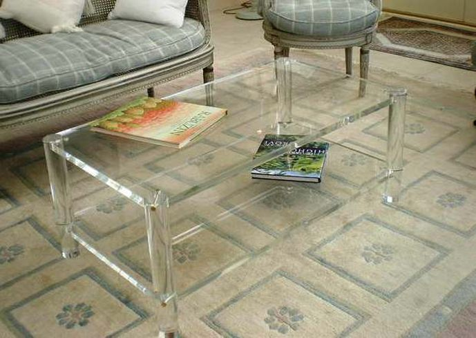 Exceptionnel Rectangle Two Tier Acrylic Coffee Table Ikea On Grey Cream Mosaic Rug Area  And Classic Wood Seating On Awesome Furniture