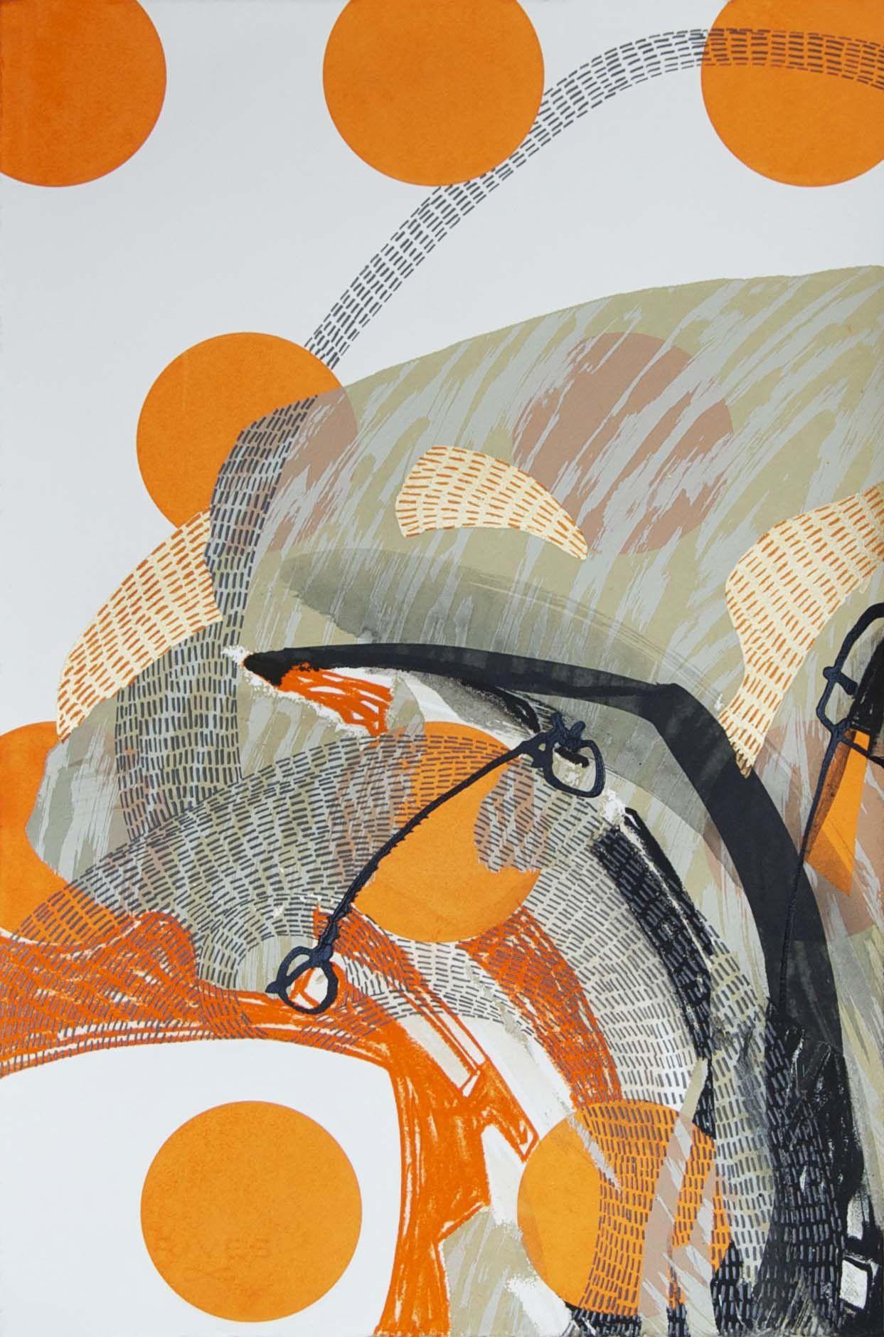Steph Houstein: Bonescape 74, silkscreen & mixed media, 56x38cm