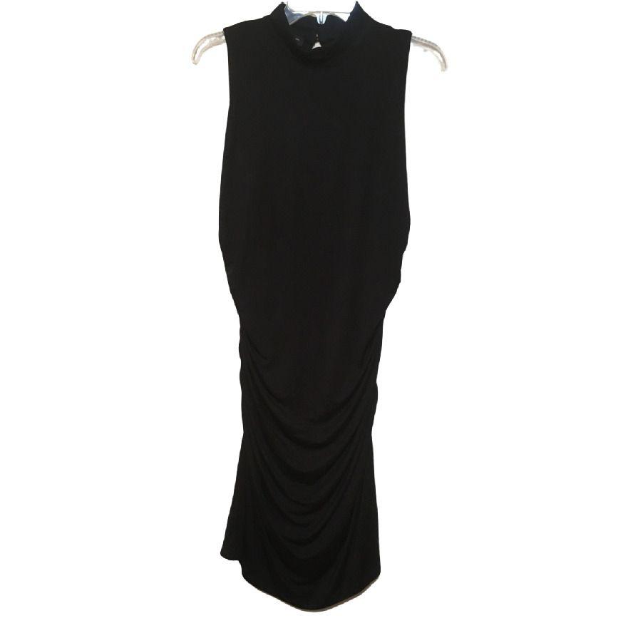 Inc Sleeveless Ruched Turtleneck Dress Black Large New Ebay Black Turtleneck Dress Turtle Neck Dress Black Dress [ 895 x 895 Pixel ]