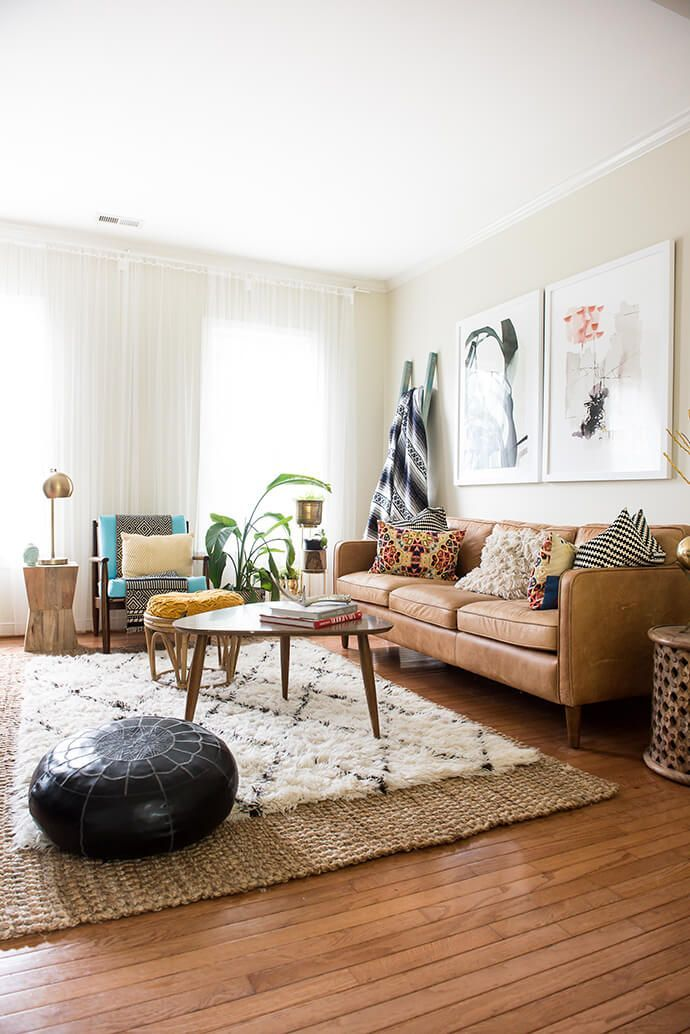 Bohemian Living Space With A Camel Leather Sofa And A Shag Rug Diy