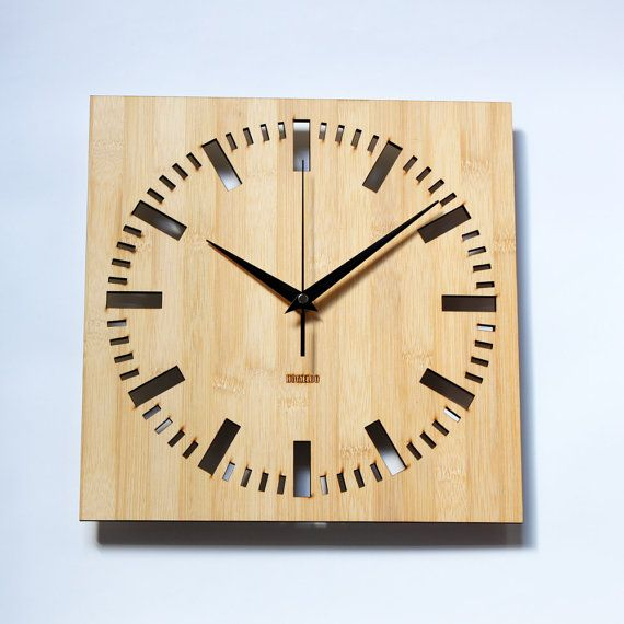 Bamboo Unique Wall Clock - Square Index