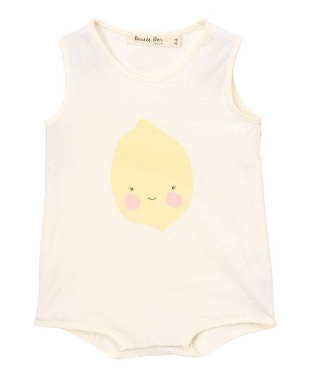 Boucle DOr Designs Ivory & Lemon Snap Organic Romper - Infant & Kids | zulily
