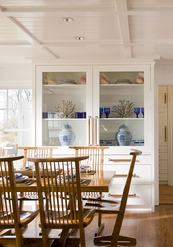 Contemporary Dining Room Cabinets Fascinating Coffered Ceiling With Built In China Cabinet Love This Look 2018