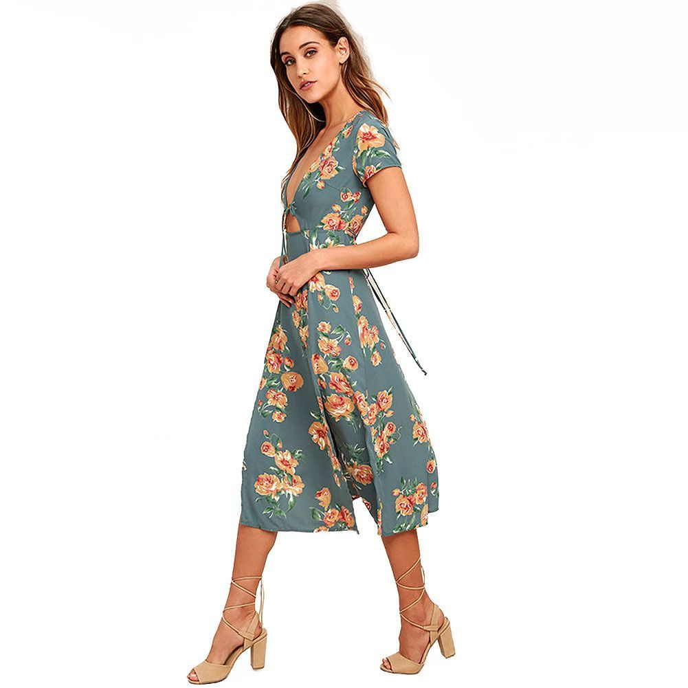 Floral Print Casual Beach Dress | SASSY POSH CLOTHING | Pinterest