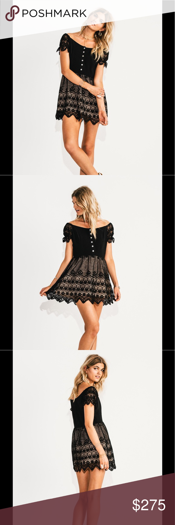 """$100 till SunJEN'S PIRATE BOOTY Midnight Lace Jen's Pirate Booty embodies designs that cater to free-spirited individuals with carefree pieces that are as spontaneous and fun as the lives they lead. This is such a fun dress that features:   Poly blend Partially lined Front button closures Hidden back zip closure Embroidered lace detail Scalloped lace edges Shoulder seam to hem measures approx 33"""" Color – Midnight Jen's Pirate Booty Dresses Mini"""