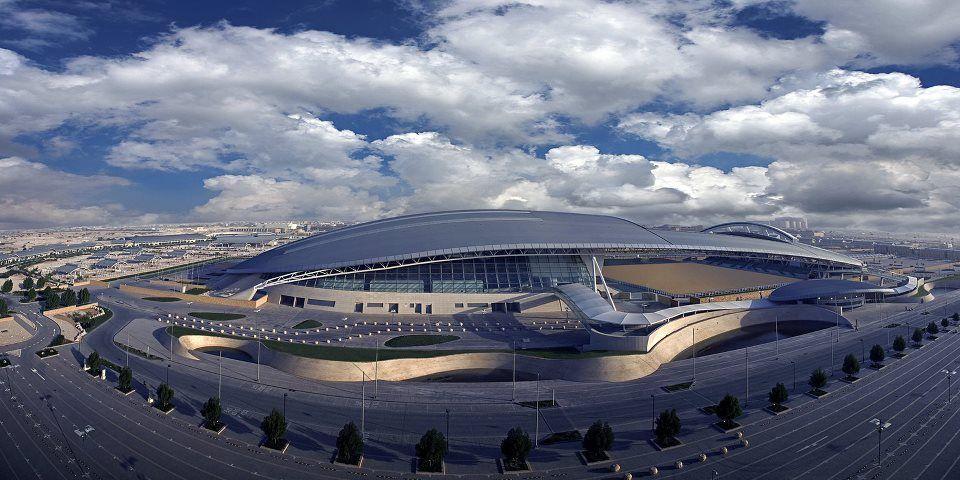 Al Shaqab Equestrian Arena in Qatar , Aerial view from the southern edge — en Al Shaqab, Qatar Foundation.