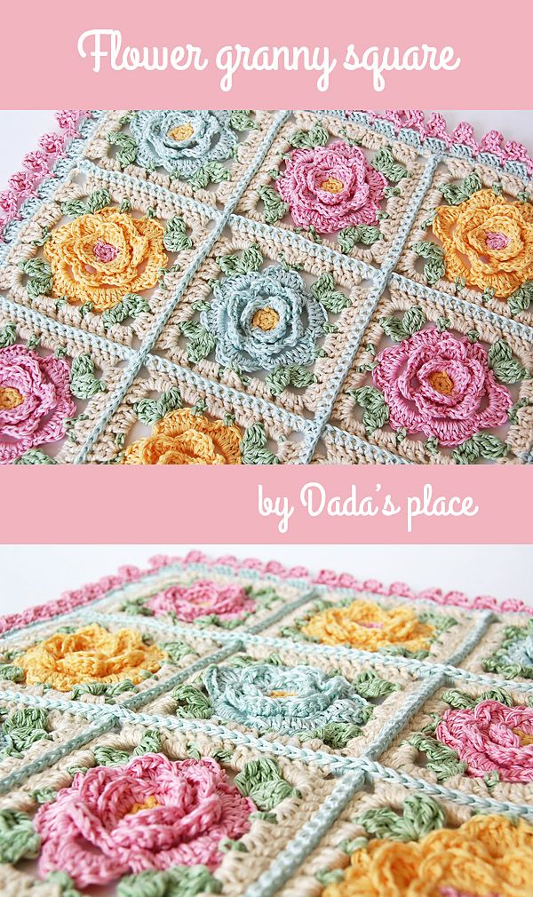 Beautiful roses granny squares made by Dada's place. #rosegrannysquare #flowergrannysquares #floralgrannysquare #crochetgrannysquare #grannysquares