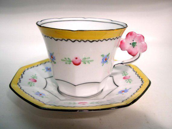 Rare Antique Melba Flower Handle Tea cup and saucer set, Hand Painted Tea cup ans Saucer.