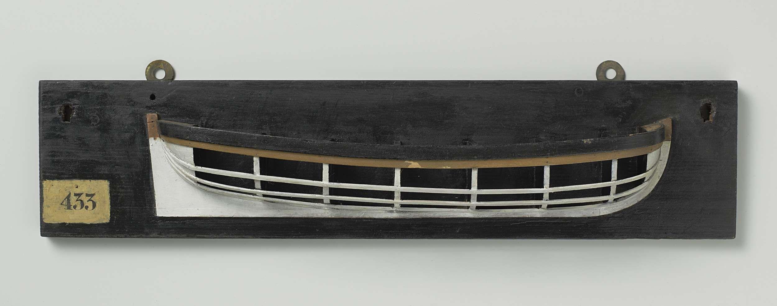 Anonymous | Halfmodel van een jol, Anonymous, 1780 - 1820 | Mallenmodel (stuurboord) van een roeiboot; rond voor- en achterschip. De zeeg loopt op naar beide uiteinden. Rondspant.