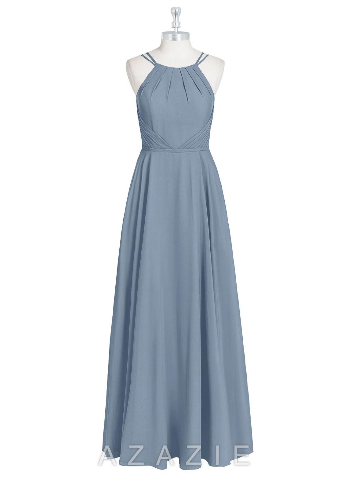 af01923ec8 Cute waist cinching and pockets! Azazie Melinda Bridesmaid Dress - Dusty  Blue