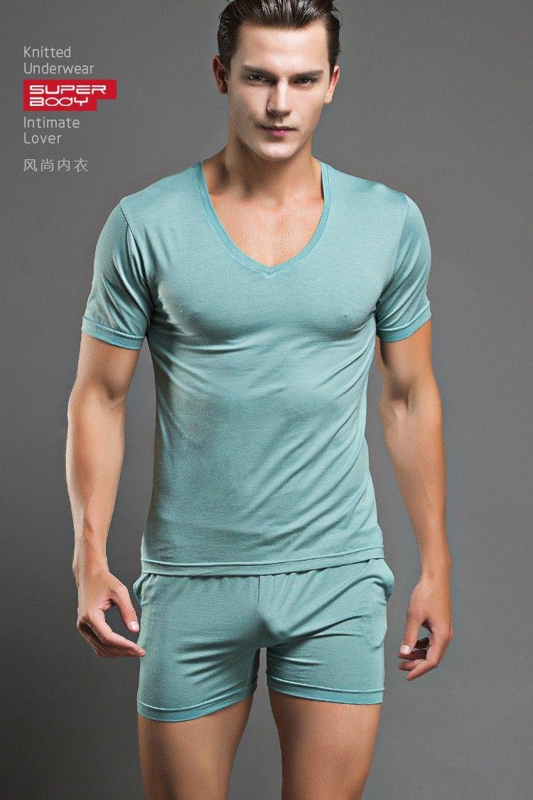 Men t shirt cotton pajama set sleepwear sexy mens T shirt and shorts pyjamas