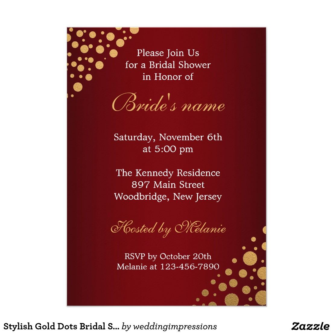 Stylish Gold Dots Bridal Shower Invitation | Red | Gold dots, Shower ...