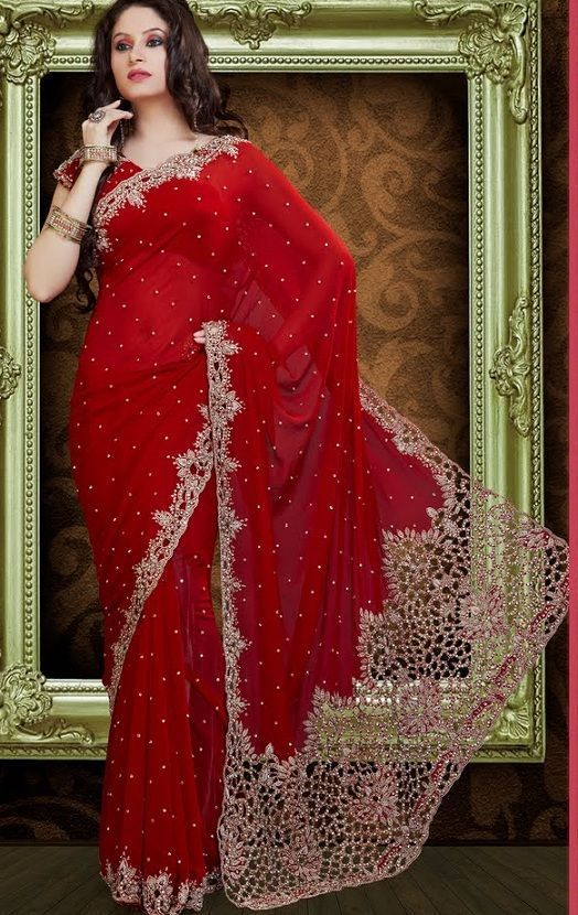 edd7d2809d Heavy Cutwork Pallu Saree online at Glitter. color: Red, category: Sarees,  fabric: Faux Georgette, occasion: Party Wear, price: $ 381, item code:  GSR2579, ...