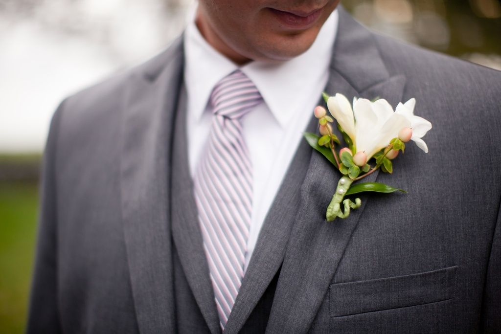 handsome grooms attire charcoal gray suit white bout | Wedding ...