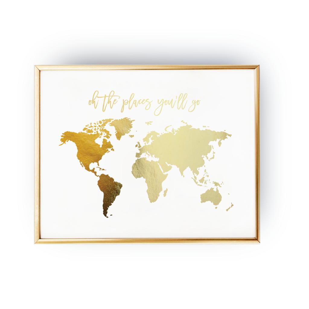 Plakat Mapa Swiata Oh The Places Youll Go Zloteplakaty Pl Mapy Swiata Plakat Plakat Na Sciane