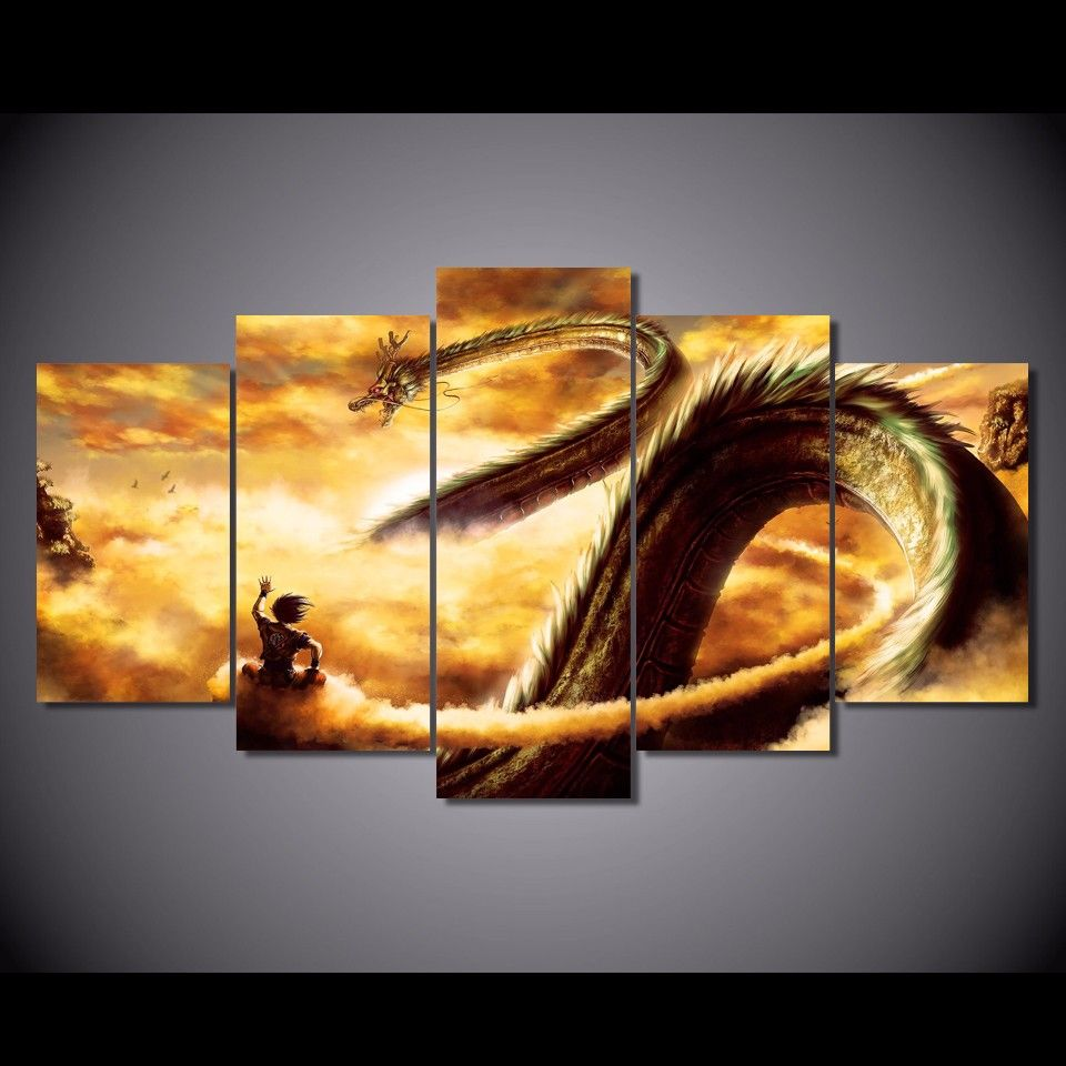 5 Pcs Set Framed Hd Printed Cartoon Dragon Ball Z Picture