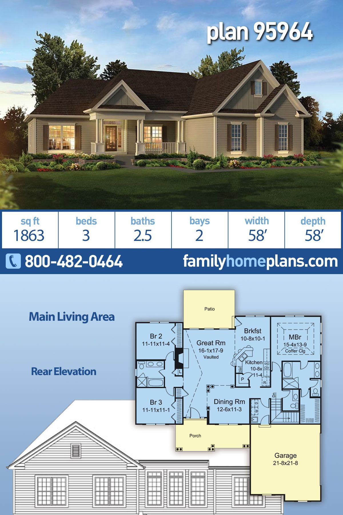 Traditional Style House Plan 95964 With 3 Bed 3 Bath 2 Car Garage Family House Plans Ranch Home Floor Plans Ranch House Plan